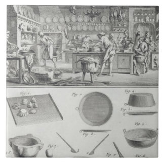 A baker's kitchen and equipment, from the 'Encyclo Large Square Tile
