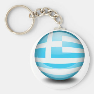 A ball with the flag of Greece Keychains