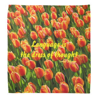 A bandana covered with a field of tulips