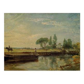 A Barge below Flatford Lock, c.1810 (oil on canvas Postcard