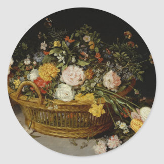 A Basket of Flowers - Jan Brueghel the Younger Classic Round Sticker