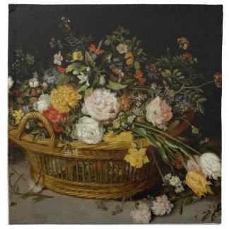 A Basket of Flowers - Jan Brueghel the Younger Napkin