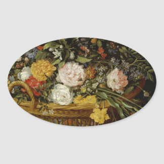 A Basket of Flowers - Jan Brueghel the Younger Oval Sticker