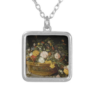 A Basket of Flowers - Jan Brueghel the Younger Silver Plated Necklace