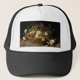 A Basket of Flowers - Jan Brueghel the Younger Trucker Hat