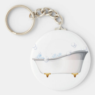A bathtub basic round button key ring