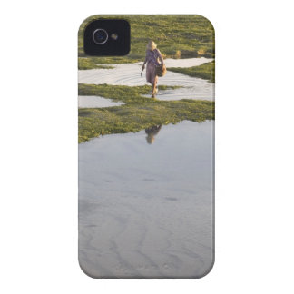 A beach scene of a villager taken in Bali island iPhone 4 Case-Mate Cases
