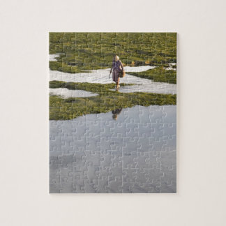 A beach scene of a villager taken in Bali island Jigsaw Puzzle