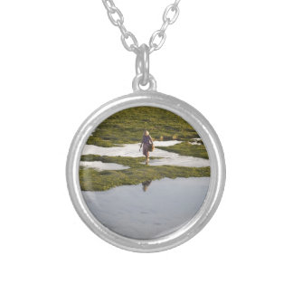 A beach scene of a villager taken in Bali island Silver Plated Necklace