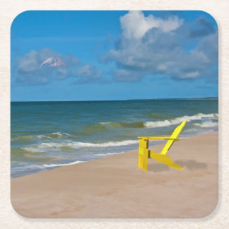 A Beach Somewhere and Beach Chair Square Paper Coaster