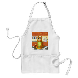 A bear holding a bowl of vegetables inside the kit standard apron