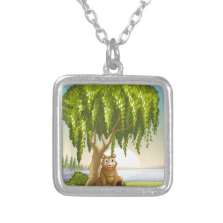 A bear under a big tree square pendant necklace