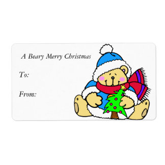 A Beary Merry Christmas Gift Tags Shipping Label