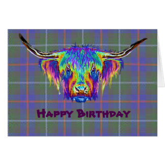 A beautiful colourful highland cow on tartan. card