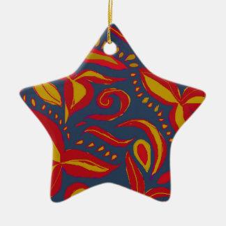 A beautiful floral design ceramic star decoration