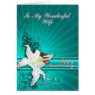 A beautiful lily anniversary card for a wife