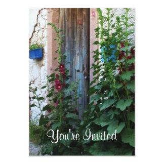 A beautiful rustic old blue door in CRETE, Greece Card