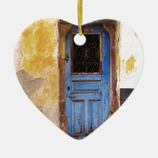 A beautiful rustic old blue door in CRETE, Greece Ceramic Ornament
