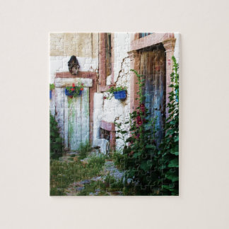 A beautiful rustic old blue door in CRETE, Greece Jigsaw Puzzle