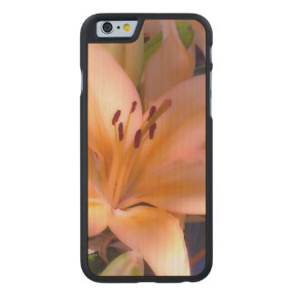 A - Beautiful Shaded Orange Lily Carved Maple iPhone 6 Case