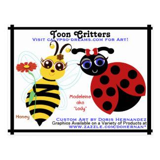 A*  Bee and LadyBug Toons Business Card Postcard