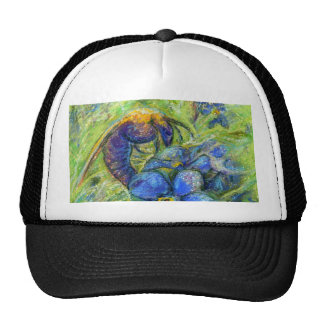 A Bee & Forget-me-not Flowers Cap