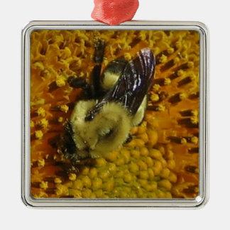 A Bee Silver-Colored Square Decoration