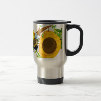 A bee with flowers near the beehive 15 oz stainless steel travel mug