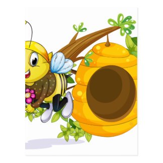 A bee with flowers near the beehive postcard