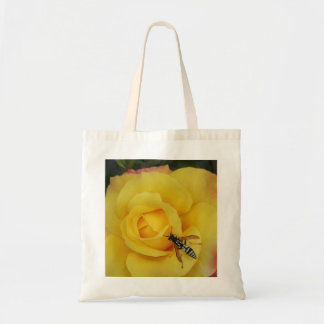 a beneficial insect wasp and a rose tote bag