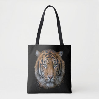 A Bengal Tiger cat wildlife face Tote Bag