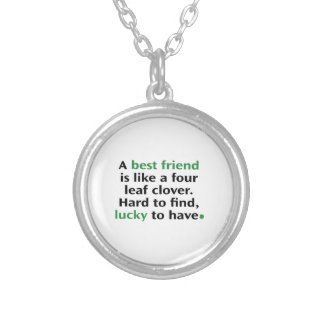 A Best Friend Is Like A Four Leaf Clover Silver Plated Necklace