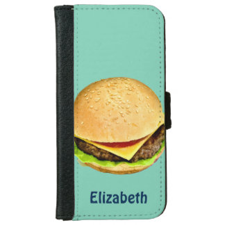 A Big Juicy Cheeseburger Photo Personalized iPhone 6 Wallet Case