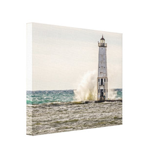 A Big Wave Crashes into the Frankfort Light Canvas Print