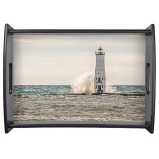 A Big Wave Crashes into the Frankfort Light Serving Tray