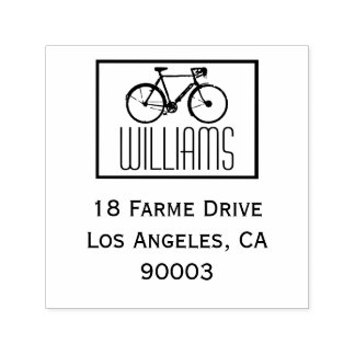 a bike with name & return address, square self-inking stamp