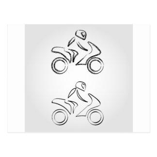 A biker on a motorbike with sketch effect postcard