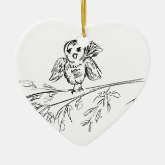 A Bird, The Original Tweet Ceramic Heart Decoration