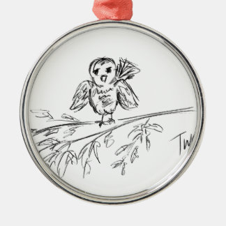 A Bird, The Original Tweet Silver-Colored Round Decoration