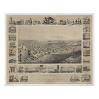 A Birds-Eye View Sacramento, 1857 Poster