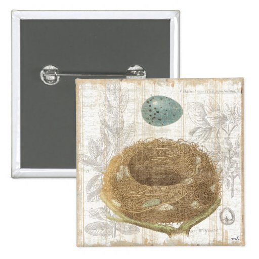 A Bird's Nest with a Decorative Egg Button