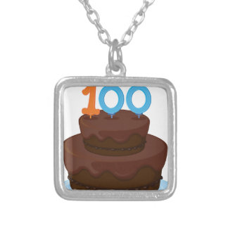 a birthday cake square pendant necklace