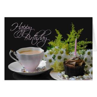 A Birthday Tea Yum tea cake flowers Card