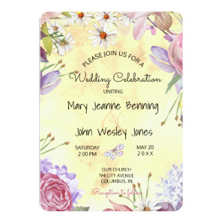 A Bit Boho Floral Sunny Wedding Card