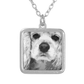 A black and white American cocker spaniel Silver Plated Necklace