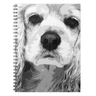A black and white American cocker spaniel Spiral Notebook