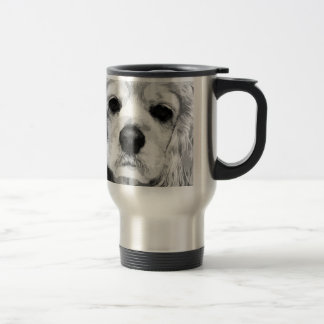 A black and white American cocker spaniel Travel Mug