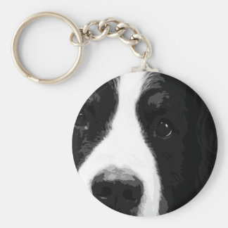 A black and white Bernese mountain dog Key Ring