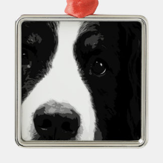 A black and white Bernese mountain dog Metal Ornament