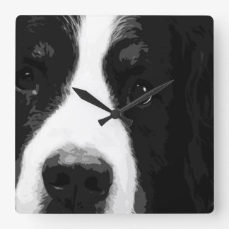 A black and white Bernese mountain dog Square Wall Clock
